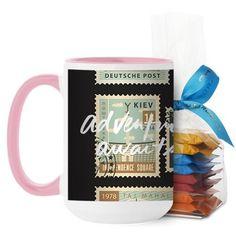 Postage Stamps Mug, Pink, with Ghirardelli Minis, 15 oz, White