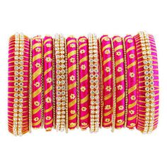 Violet & Gold Colour Bangles with Grand Stone worked Handmade Bridal Bangles