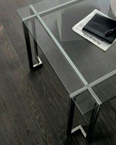 Lord - Table with transparent glass top. Structure in bright.- Lord – Table with transparent glass top. Structure in bright stainless steel. Lord – Table with transparent glass top. Structure in bright stainless steel. Glass Furniture, Iron Furniture, Industrial Furniture, Table Furniture, Furniture Makeover, Modern Furniture, Home Furniture, Furniture Design, Furniture Ideas
