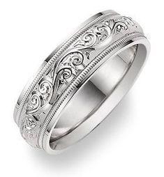applesofgold.com - Paisley Design White Gold Wedding Band Ring - one of our best selling wedding rings for men & women, in 14k solid white gold or platinum. #weddingring #menweddingrings
