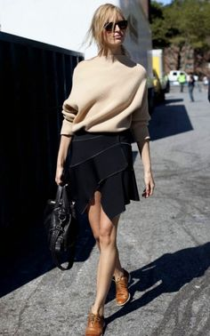 Street style : beige with black for winter. Repin Via: Beckerman Blog #chicmix