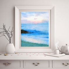 Beach Watercolor Print Abstract Ocean Watercolor by ChezLorraines