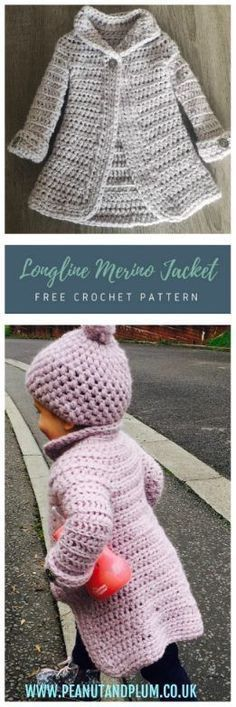 Longline Merino Wool Coat – Free Crochet Pattern – Peanut and Plum. 18 to 24 months size. 02-19-18