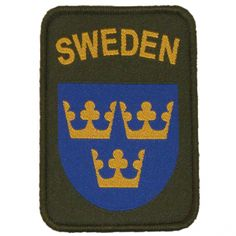Military green patch with velcro back of your sleeve or bag.  Text Sweden with three crowns in yellow on a blue shield.    Text Sweden