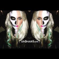 Female half skull Halloween airbrush makeup