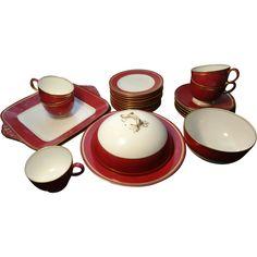 Rare Wedgwood tea set, claret ground and ground gilt, part service, 26pcs