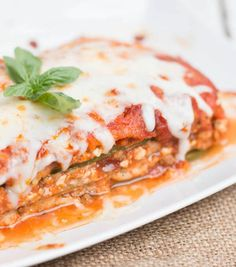 Long strips of zucchini replace traditional lasagna noodles to pack in extra veggie power here, but you probably won't notice when you're busy savoring every bite of gooey, cheesy goodness. Get the recipe here.