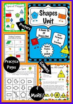 Teaching beginning geometry?  Check out my Shapes Unit!  A common core aligned shapes unit with anchor charts, assessments, games, practice pages, posters and MORE!!!