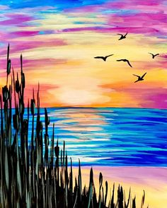 Pick A Painting For Your Next Private Paint Party Basic Painting, Easy Canvas Painting, Diy Canvas Art, Painting & Drawing, Acrylic Painting For Kids, Beach Sunset Painting, Lake Painting, Oil Pastel Art, Drawing Techniques