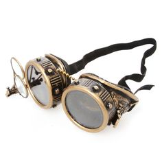 These studded brass colored goggles feature an eye loupe of paired glasses that are held within thin frames. It is suspended upright and held in place by a gaggle of fasteners.  [unordered_list style=