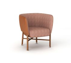 """""""Cabriolet"""" chair Hermes """"cabriolet"""" chair with solid Canaletto walnut wood base and brushed inox plated finishings. Covered with gold taurillon essential leather. Padded seat and back covered with taurillon essential leather and Hermes red """"Cheval Pixel"""" fabric. L27"""" x H28.5"""" x W25.4"""" <br />Small and comfortable occasional armchair skillfully enhanced with piping.<br />"""