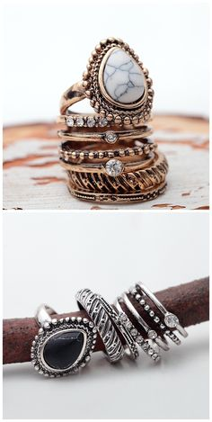 Only $13.99 for this amazing Zircon Ring Set Midi Rings(Set of 5) White & Black!  ❤️Summer Outfits & Trends 2016❤️ MORE BOHO STYLE ❤️ ❤️www.chicnico.com❤️