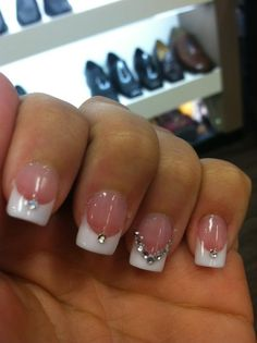 Wedding nails with rhinestone accent!!!!