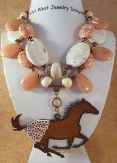 Cowgirl Necklace Set  Chunky White Buffalo and Peach Turquoise with an Appaloosa Pendant by Outwestjewelry