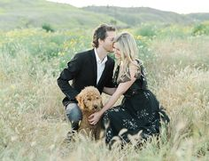 There are few things people love more than their pets. This couple's love shoot with a furry friend proves it true. Here's Mat, Inese & their adorable pup! Engagement Announcement Photos, Engagement Inspiration, Goldendoodle, Engagement Shoots, Portrait Photography, Pup, Photoshoot, Poses, Couple Photos