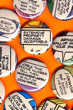Button inspiration- use discarded comics/graphic novels, perfect for all ages, Free Comic Book Day craft!