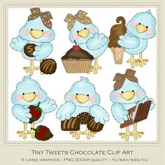 Tiny Tweets Chocolate Clipart by Cheryl Seslar by marlodeedesigns, $1.35