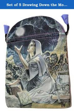 """Set of 5 Drawing Down the Moon Giving Thanks Drawstring Treasure Giftwrap Jewelry Bag 6"""" x 9"""" Large. A wonderful Bag Large designed for storing your tarot or other ritual tools in! This Bag Large comes with a drawstring closure. Usable storage area is 5 7/8"""""""" x 6"""" accommodates tarot deck in box up to 4""""x5""""x 1 1/4"""". Overall Bag Large measures: 6"""" x 9""""."""
