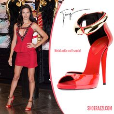 Adriana Lima in Giuseppe Zanotti Red Patent Leather Metal Ankle Cuff Sandals