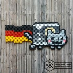 Nyan Cat Germany with the german football (soccer) jersey - Artkal Hama Perler Beads - Beadsmeetgeeks