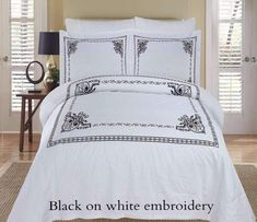 Classic Embroidered Duvet Cover Set #LuxuryBeddingWhite