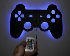 PlayStation Lighting Sign - Siluet Wall Art - Illuminated LED - Arthouse Design - Any size Game Room Decor, Boys Room Decor, Boy Room, Kids Room, Wall Decor, Wall Lamps, Video Game Bedroom, Video Game Rooms, Playstation