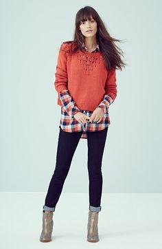 Vanessa! Hinge Pointelle Yoke Sweater   Nordstrom-Red Orange xl
