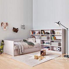 Roomplanner Bettbank mit Schrankwand in Gris Plar
