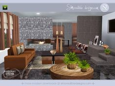 Natural Stone modern and rustic living room by SIMcredible Designs - Sims 3 Downloads CC Caboodle