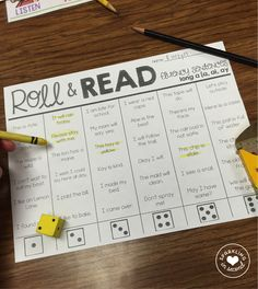 Phonics Roll & Read Fluency Sentences! Great for centers, whole group, small group, partner work, or independent work.