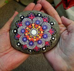 Large Mandala Stone ~ Painted Rock ~ Colorful Dot Art Painting ~ Original Home Decor ~ Natural Stone ~ Pink ~ Purple Flower ~ Design by P4MirandaPitrone on Etsy