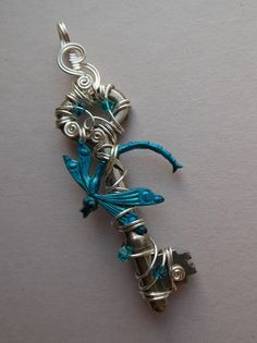 Dragonfly Key Pendant Turquoise Dragonfly by silverowlcreations