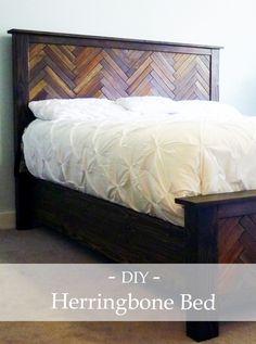 DIY wood herringbone bed - using reclaimed wood tiles!!!