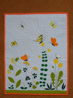 Butterfly and field flower dandelion on wall hanging by gyorgyagi, $150.00