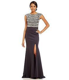 Terani Couture Crystal Sheath Ruffled Back Dress Dillards Ruffles
