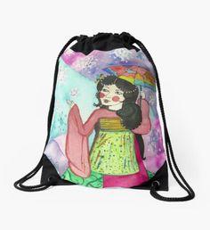 New Beginnings - Winter Geisha Drawstring Bag Winter Fairy, Green Palette, Winter Solstice, Winter Landscape, Christmas Art, Winter Time, Geisha, Whimsical, Pouch