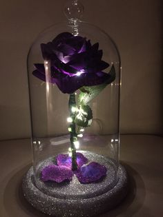 wedding beauty and the beast Beauty amp; The Beast Inspired Enchanted Rose Dome Light in Purple Love, All Things Purple, Purple Flowers, Quince Decorations, Quinceanera Decorations, Enchanted Rose, Beautiful Flowers Wallpapers, Beautiful Roses, Deco Violet