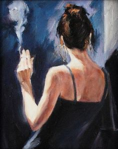 Smoking Female Romantic Oil Painting on Canvas Chiaroscuro Art Wall Decor Stretched