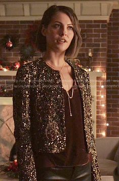 Thea's burgundy velvet top and embellished jacket on Arrow.  Outfit Details: https://wornontv.net/54839/ #Arrow