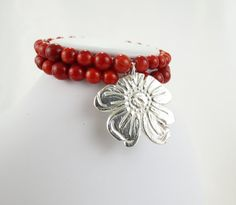 Fine Silver Wild Rose and Bright Red Coral Stretch Bracelet by LoriDelisle Handmade Jewelry from the Rose of Sharon Collection.  Luxurious Prophetic Christian Jewelry