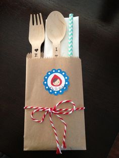 Wooden utensils and bakers twine. Storybook baby shower.