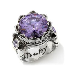 King Baby Jewelry Simulated Stone & CZ Sterling Silver Crown Ring - Purple