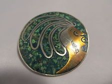 Mexico TAXCO Sterling Silver Signed Mayan Aztec WARRIOR Face PENDANT Pin BROOCH