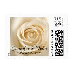 Ivory Rose Custom Wedding Postage Stamps