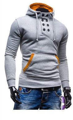 The design is unique, and the collar button looks amazing and sewn tightly. The hood is normal (no pointy top) with a drawstring attached to it. unique-outfit.com