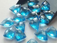 WHOLESALE 10 Pcs Blue Topaz Hydro Quartz Checker by gemsforjewels