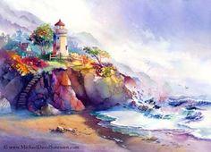 Couleurs côtières - peinture d'aquarelle par Michael David Sorensen