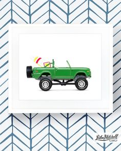Vintage truck print from Leslee Mitchell Art. Surfboard art print. Perfect for boys bedroom, big boy room, boy nursery, summer home decor. Happy, primary color pop art. Boys room wallpaper design. Car art. Truck art. Lifted Ford Bronco print. Volkswagen beetle print. Volkswagen van print. Car art. Vintage car prints. Classic Ford Bronco. Serena and Lily wallpaper. Kids room wallpaper ideas. Construction big boy room. Surfboard print. Surf art. Room Wallpaper Designs, Boys Room Wallpaper, Wallpaper Ideas, Kids Room Art, Boys Room Decor, Serena And Lily Wallpaper, Car Themed Bedrooms, Family Car Decals, Car Prints