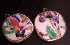 Set of Two Pottery Shard Pendants for by FromTheHipDesigns on Etsy, $9.00