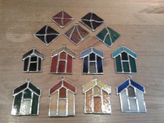 Stained glass beach hut sun catchers to hang in your window.  Created with copper foil. #stained glass #suncatcher #beachhut